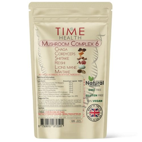 Mushroom Complex 6 Capsules - Lion's Mane, Cordyceps, Chaga, Reishi, Shiitake & Maitake - 12,000mg Raw Mushroom Equivalent per Capsule - Time Health