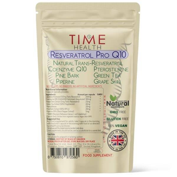 Resveratrol Pro Q10 - Trans Resveratrol, Coenzyme Q10, Pterostilbene, Pine Bark, Piperine, Grape Skin, Green Tea - Capsules