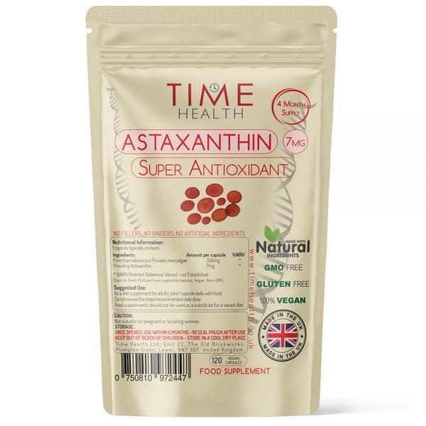 Astaxanthin Capsules - Optimal 7mg Dose - Super Antioxidant - Derived from Haematococcus pluvialis - 4 Month Supply