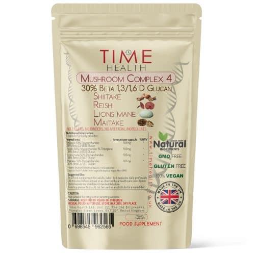 Mushroom Complex 4 - Lion's Mane, Chaga, Shiitake & Maitake - 50% Polysaccharides / 30% Beta Glucans - Capsules
