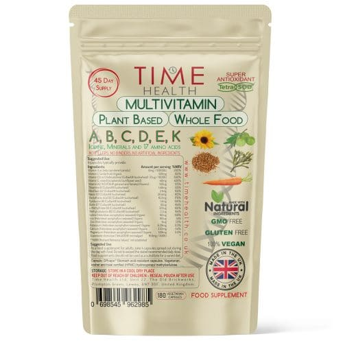 Multivitamin - Whole Food & Plant-Based - Vitamins A B C D E K - Iodine - Minerals - 17 Amino Acids - Capsules