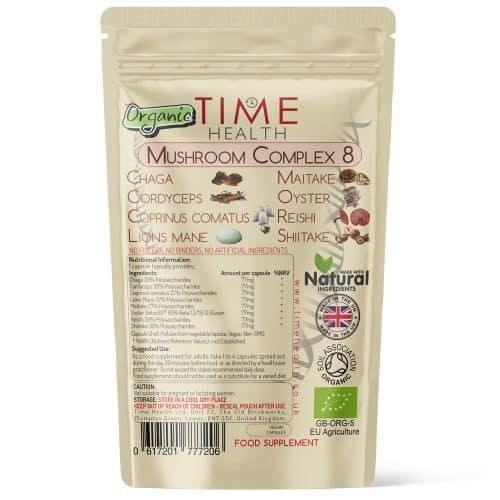 Organic Mushroom Complex 8 - Lion's Mane, Chaga, Cordyceps, Reishi, Shiitake, Coprinus & Oyster Mushroom Extract - 40% Polysaccharides / 20% Beta Glucans - Capsules