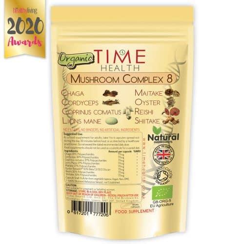 Organic mushroom complex 8 - lions mane, chaga, cordyceps, reishi, oyster, maitake, coprinus, shiitake