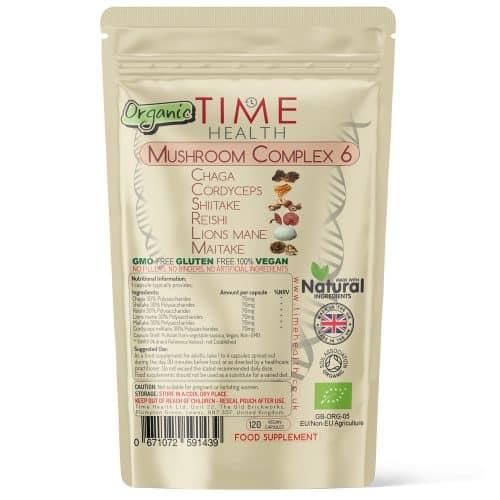 Mushroom Complex 6 Organic - Lion's Mane, Cordyceps, Chaga, Reishi, Shiitake & Maitake - 30% Polysaccharides