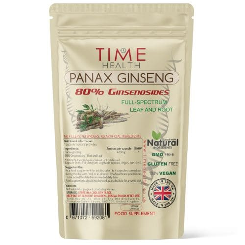 Panax Ginseng - 80% Ginsenosides - Full Spectrum Leaf & Root - Capsules