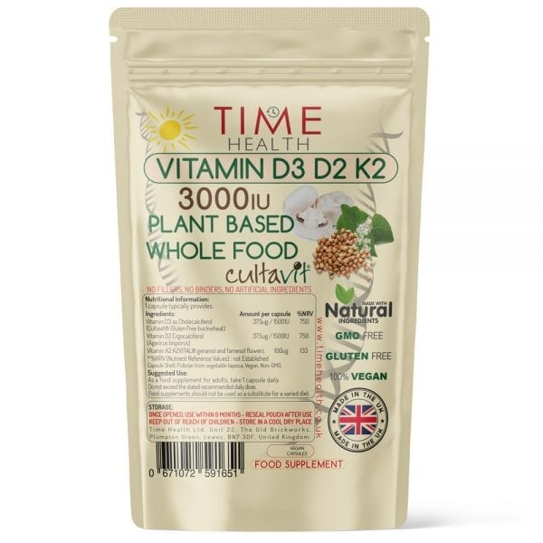 Vitamin D3 D2 & K2 Capsules - Whole Food & Plant-Based - 3000IU - Made with Cultavit