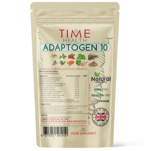 Adaptogen 10 - Ashwagandha, Bacopa, Holy Basil, Rhodiola Rosea, Schisandra, Cordyceps, Gotu Kola, Siberian Ginseng, Panax Ginseng, Astragalus IV – Includes Black Pepper for Added Absorption - Capsules