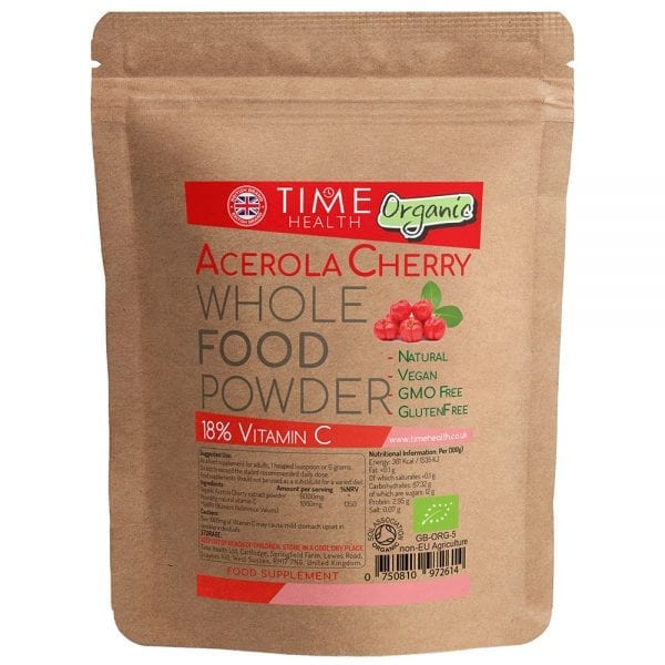 Acerola Cherry Powder - Soil Association Approved Certified ORGANIC Powder Natural Vitamin C of 18%