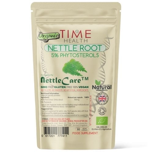 Organic Nettle Root - 5% Phytosterols - Made with Nettle Care - Capsules