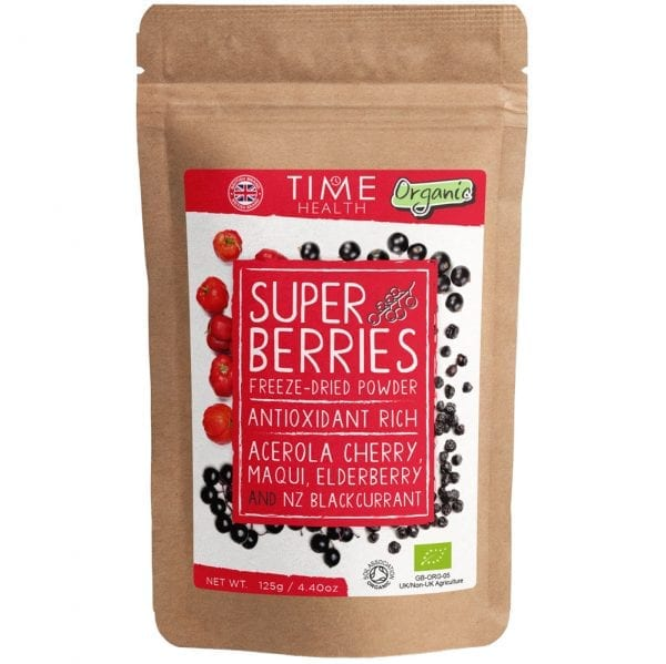 Organic Super Berries Powder - Freeze-Dried Acerola Cherry, Maqui, Elderberry & NZ Blackcurrant