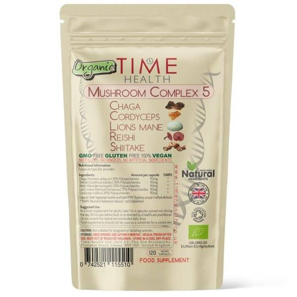 Organic Mushroom Complex 5 - Chaga Extract, Cordyceps Militaris Extract, Lion's Mane Extract, Reishi Extract & Shiitake Extract - EU Grown Dual Extracted Mushrooms - 120 Capsules