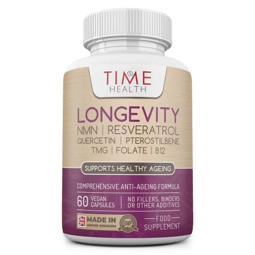 Longevity - NMN, Micronized Resveratrol, Quercetin, Pterostilbene, TMG, Folate & B12 - Advanced Anti-Ageing Formula - UK Made to GMP Standards