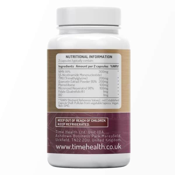 Longevity - NMN, Micronized Resveratrol, Quercetin, Pterostilbene, TMG, Folate & B12 - Advanced Anti-Ageing Formula - UK Made to GMP Standards