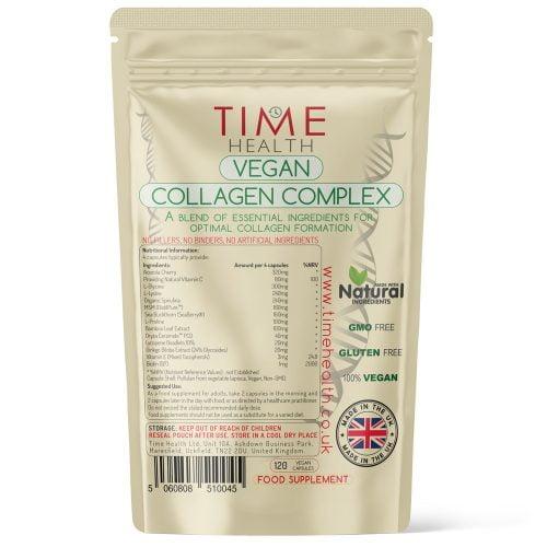 Vegan Collagen Complex - Plant Based Collagen Booster - 120 Capsules - Ceramides, Vitamin C, Spirulina, L-Proline, L-Glysine, L-Lysine, MSM - UK Made Supplement - Zero Additives - GMP Standard